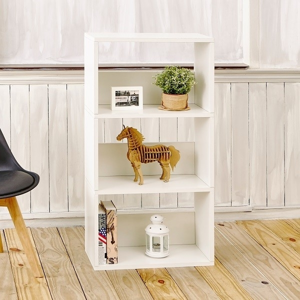 Eco 3 Shelf Triplet Bookcase and Storage Shelf, Natural White - Tool-Free Assembly - Non Toxic - Lifetime Warranty
