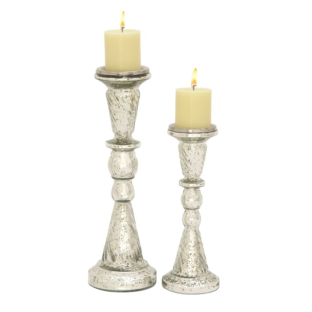 Benzara Stunning Set of Two Glass Candle Holder