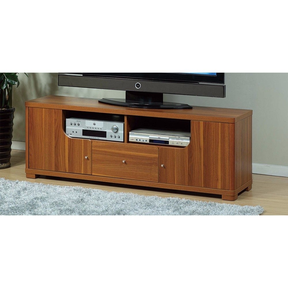Contemporary Style TV Stand With 2 Open Shelves.