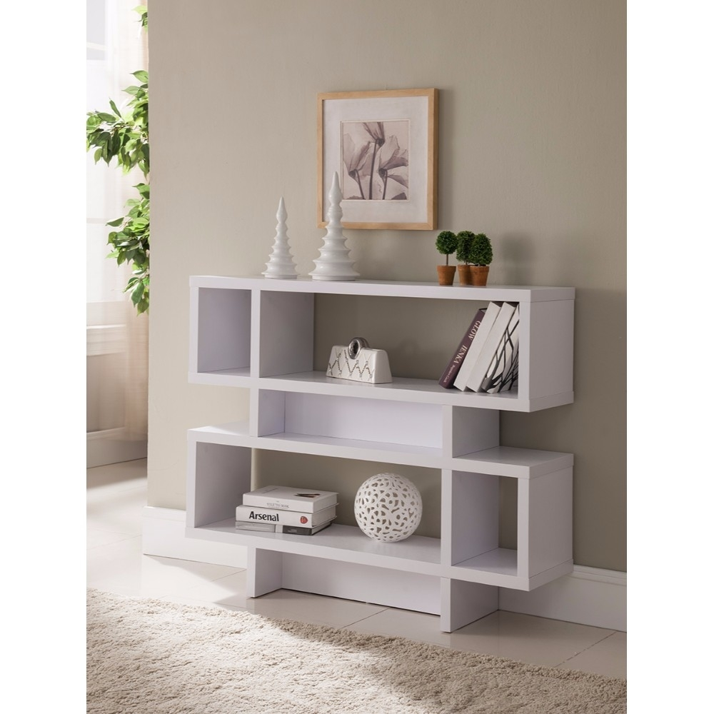 Alluring 2-Tier Wooden Display Cabinet, White