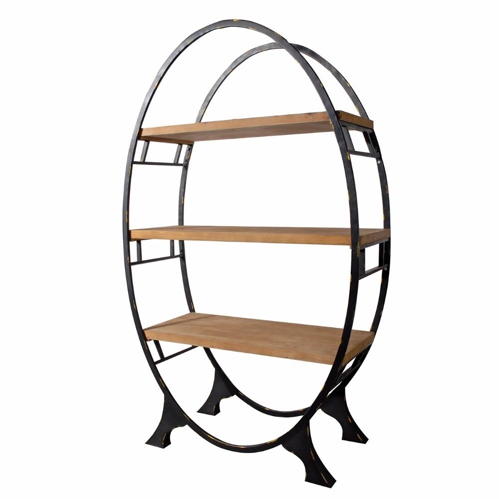 Modish Oval shaped Bookshelf, Black and Brown