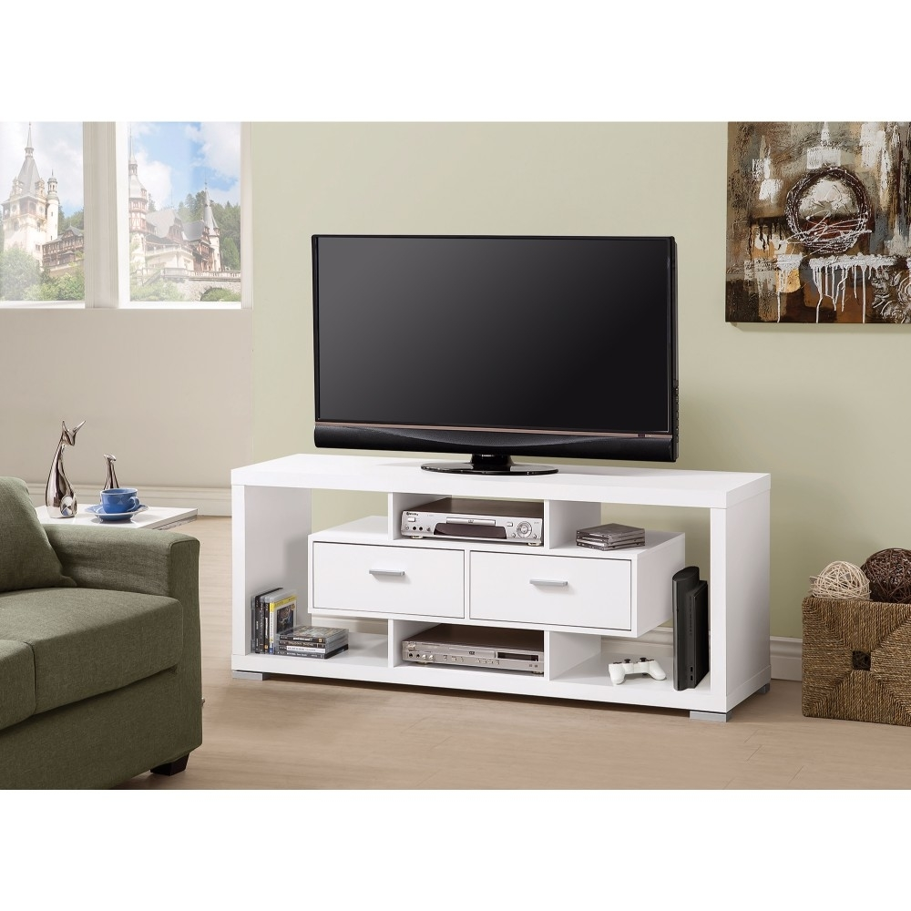 Spacious Modern Style TV Console, White