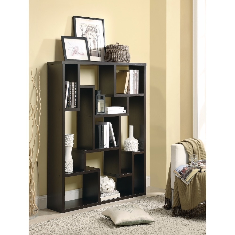 Magnificently Asymmetrical Wooden Bookcase, Brown