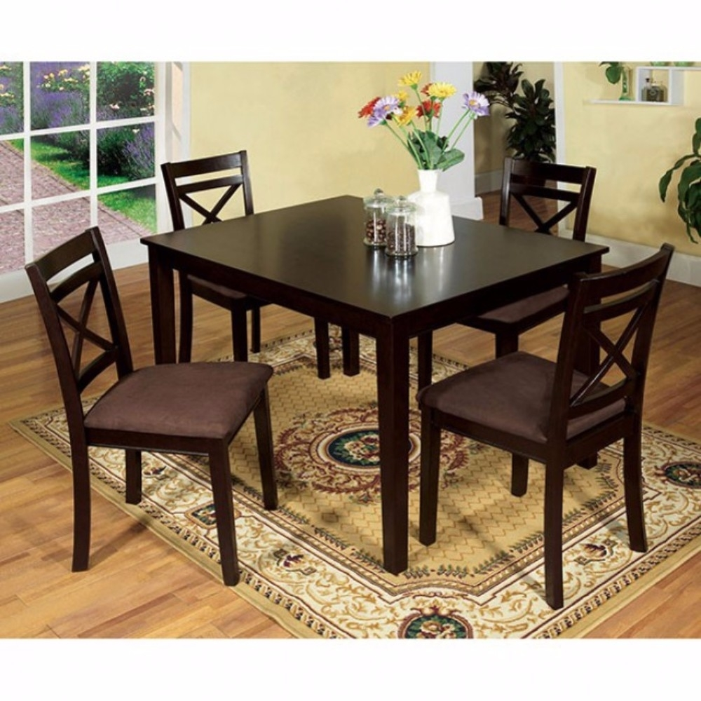 Sophisticated Dining Table With Fabric Cushion Chair, Set of 5, Expresso