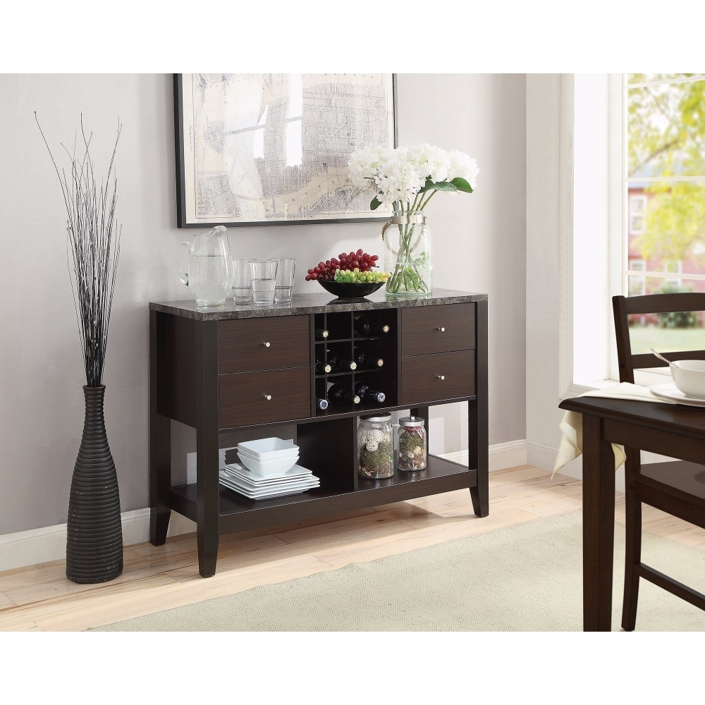 Sturdy Server with Wine Storage, Brown