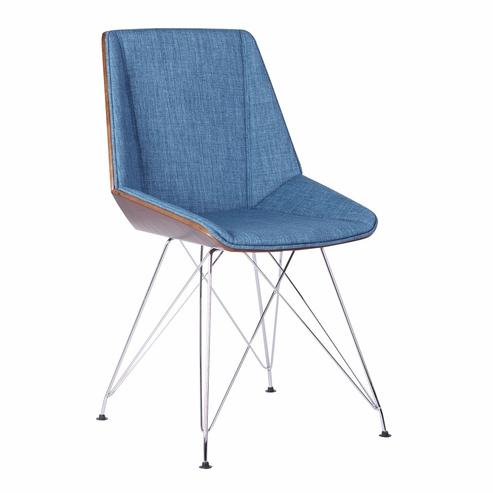 Armen Living Pandora Chair in Chrome finish with Walnut wood and Blue Fabric