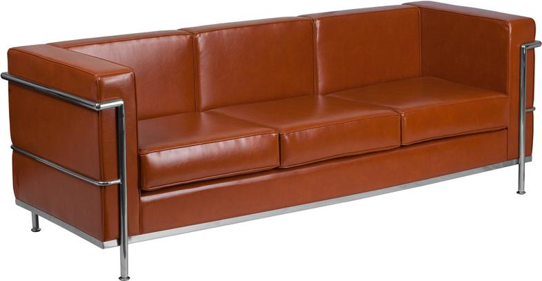 Cognac Bonded Leather sofa.