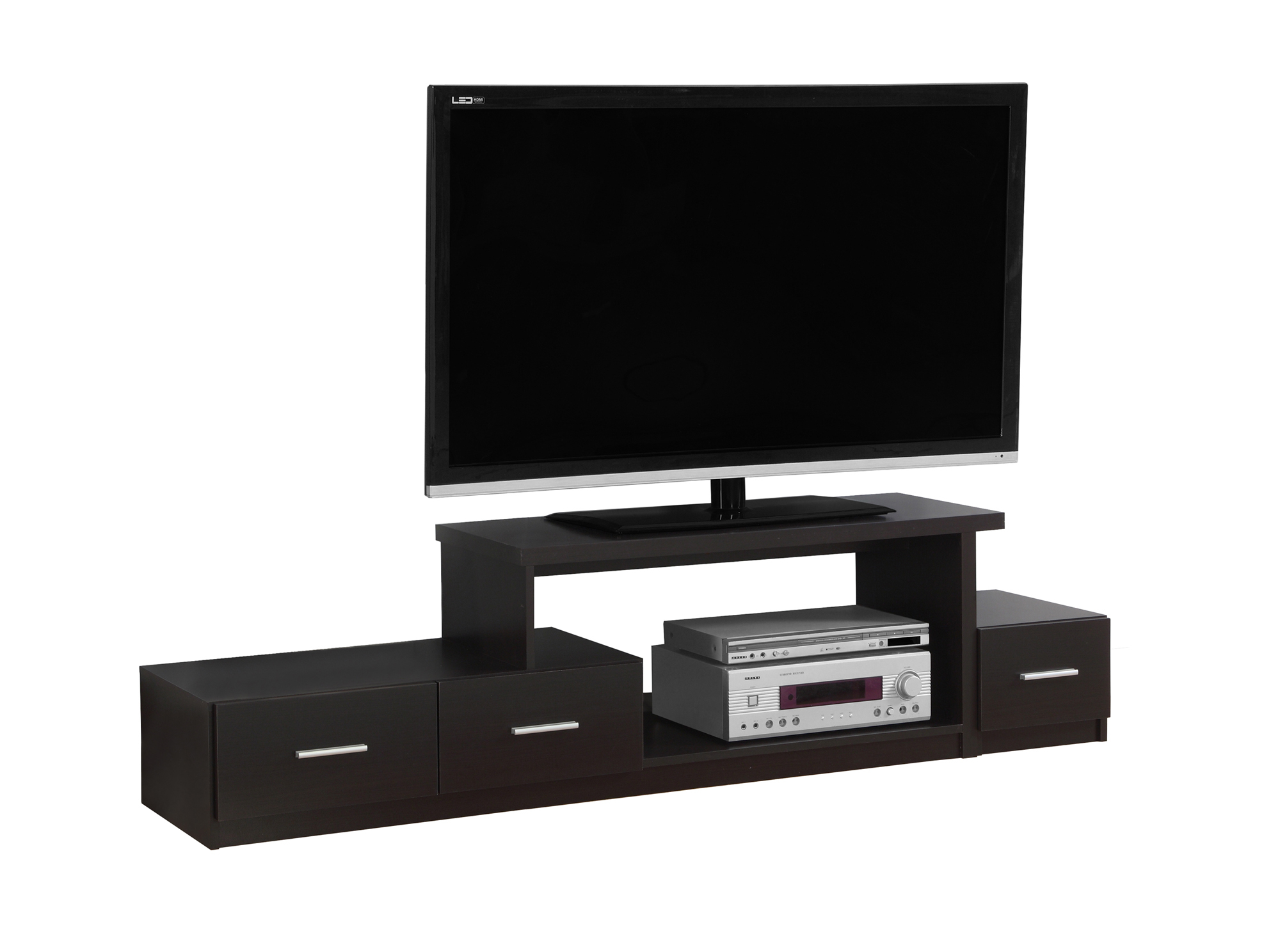 "TV Stand - 72""l, Cappuccino With 3 Drawers"