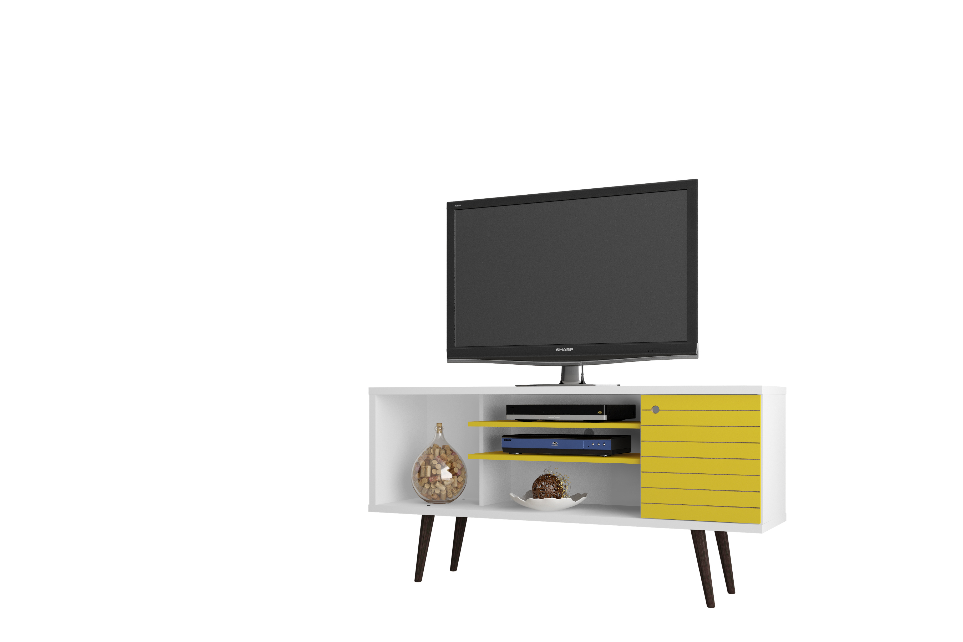 "Liberty 53.14"" Mid Century - Modern TV Stand w/ 5 Shelves & 1 Door w/ Solid Wood Legs, (Mhc-200Amc64)"