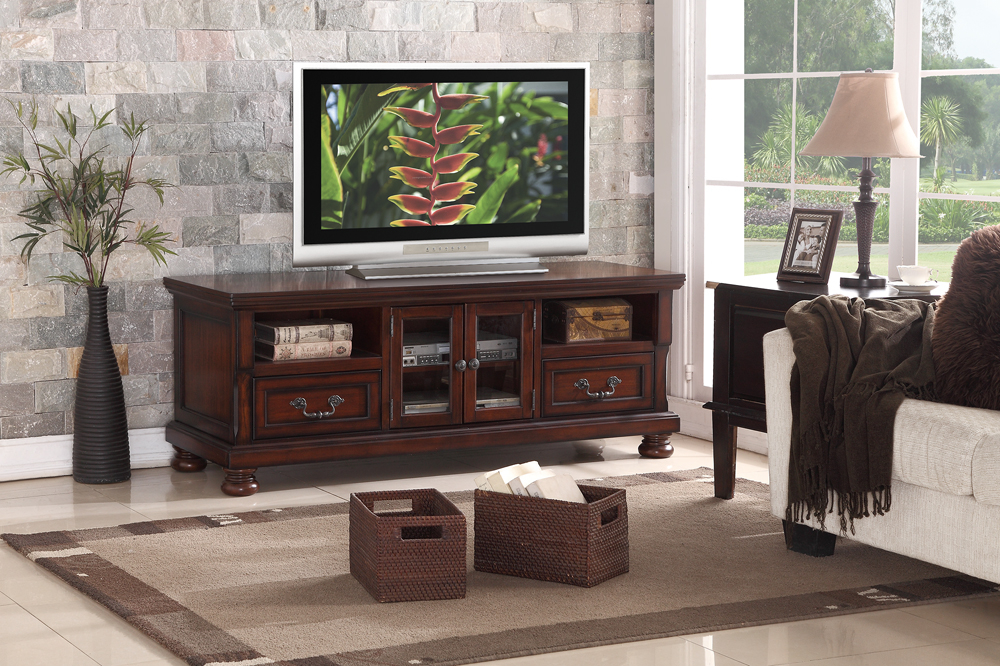 Wooden TV Stand With 2 Drawers, 2 Shelves, 1 Door, Brown