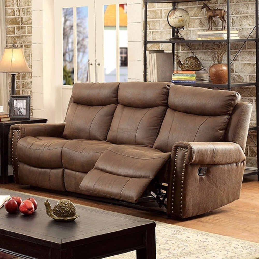 Leatherette Recliner Sofa, Brown