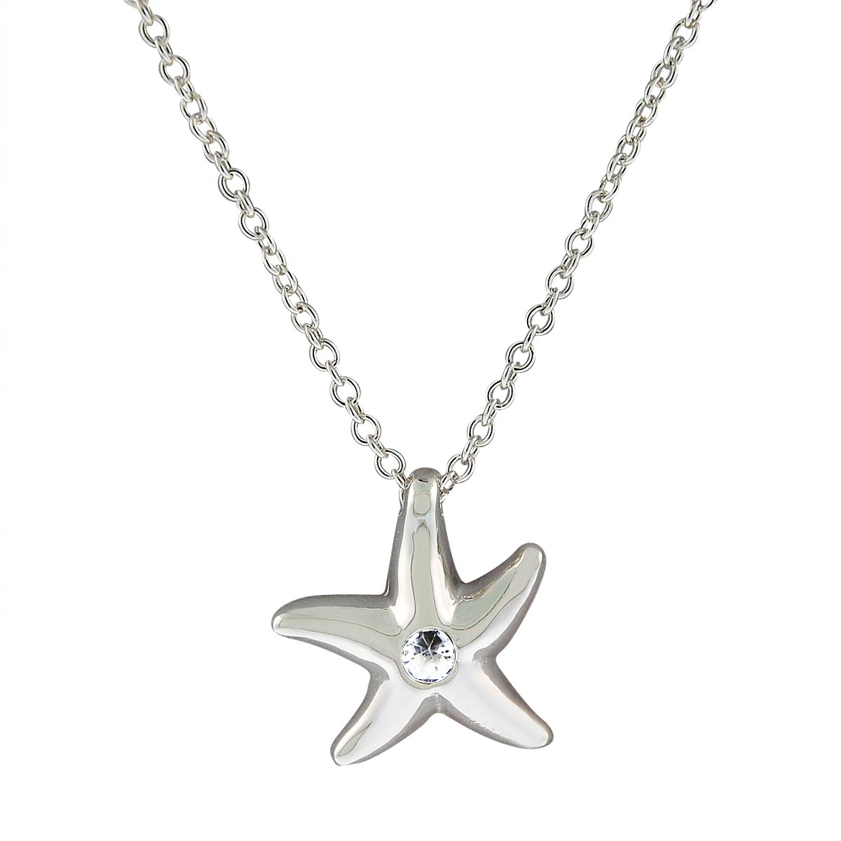 Sterling_Silver_Star_Fish_Necklace_With_Simulated_Diamond_In_Center
