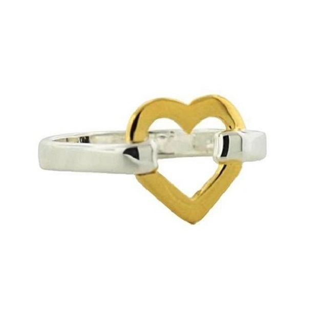 Sterling_Silver__Gold_Heart_Ring__Size_7