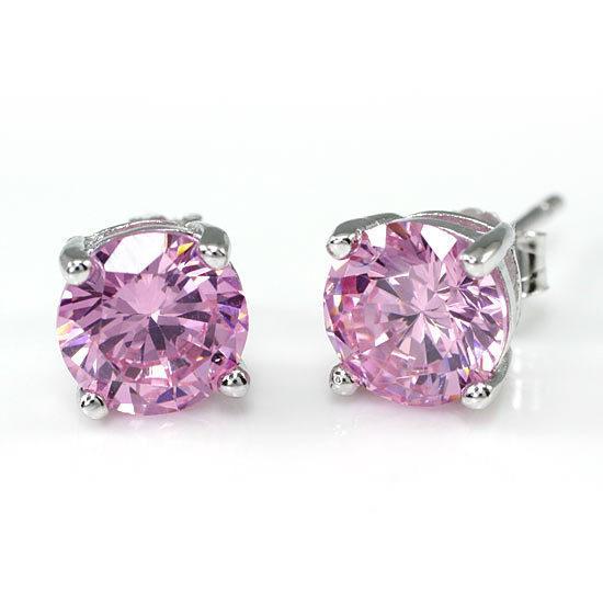 Pink 2 Carat Sterling Silver Studs 53d75f826f3d6f57200000ce