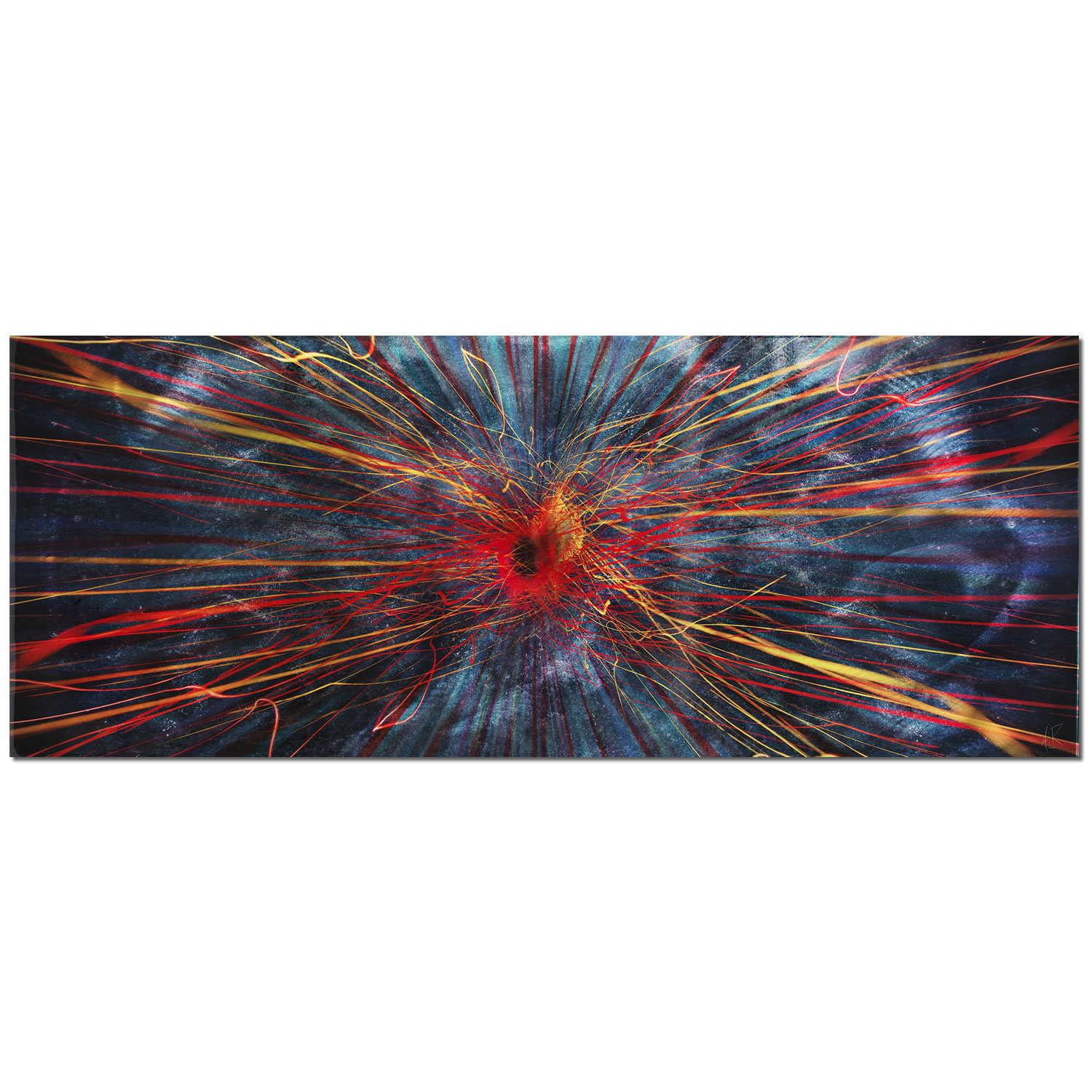 Abstract Painting 'Implosion' - 48x19in. - Large Abstract Art, Charcoal w/ Red & Blue Streaks - Dark Modern Art - Contemporary Wall Art 51f762613337d063120003e1