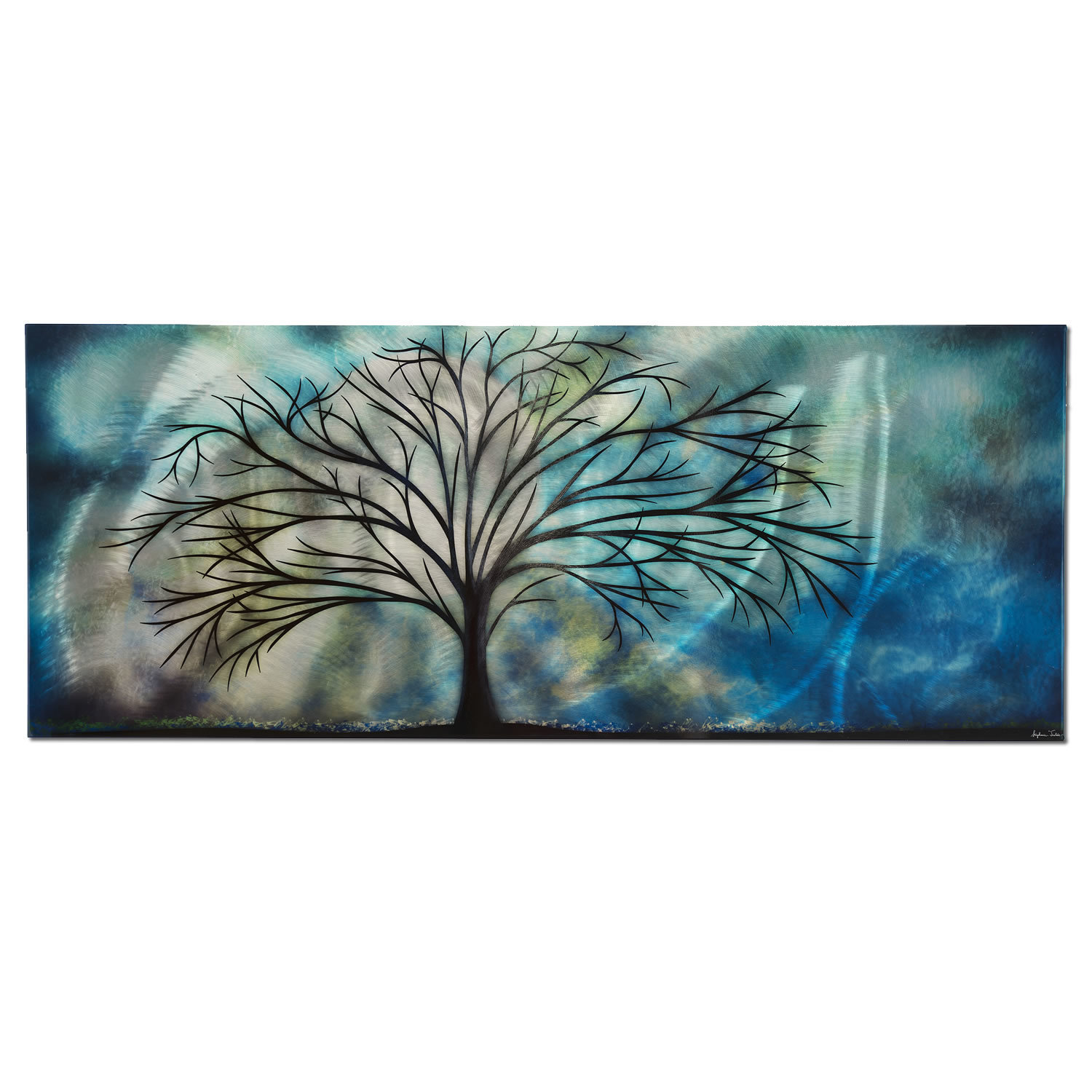 Metal Art Studio Wall Vanitymoonlight Serenade Vanity Cool Colors Tree Wall Sculpture Meta Contemporary