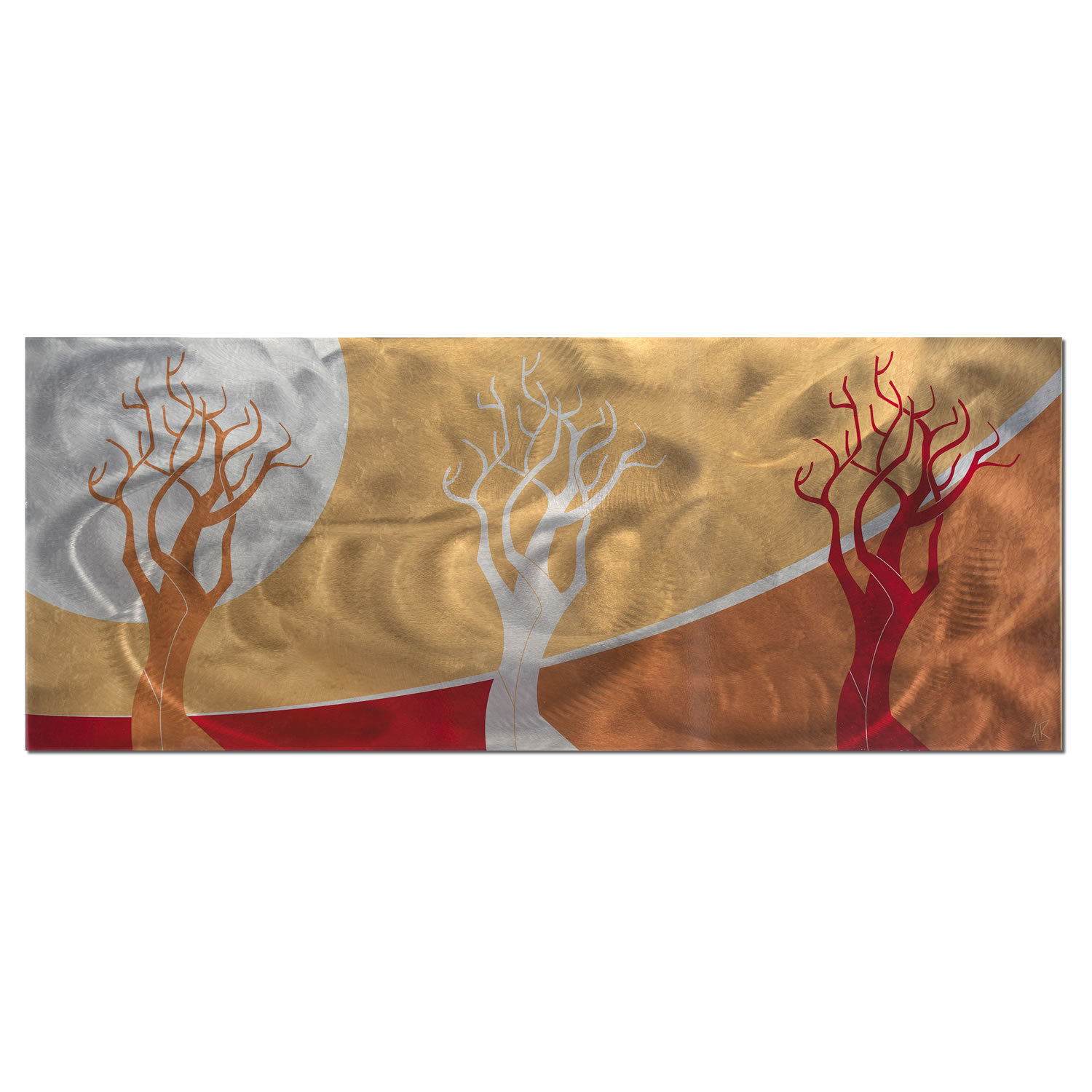 'Golden Seasons' - Abstract Landscape Painting - Modern Tree Design Art - 3 Contemporary Trees in Orange, Yellow, Red Artwork 51f37f6a1b0ba08240002531