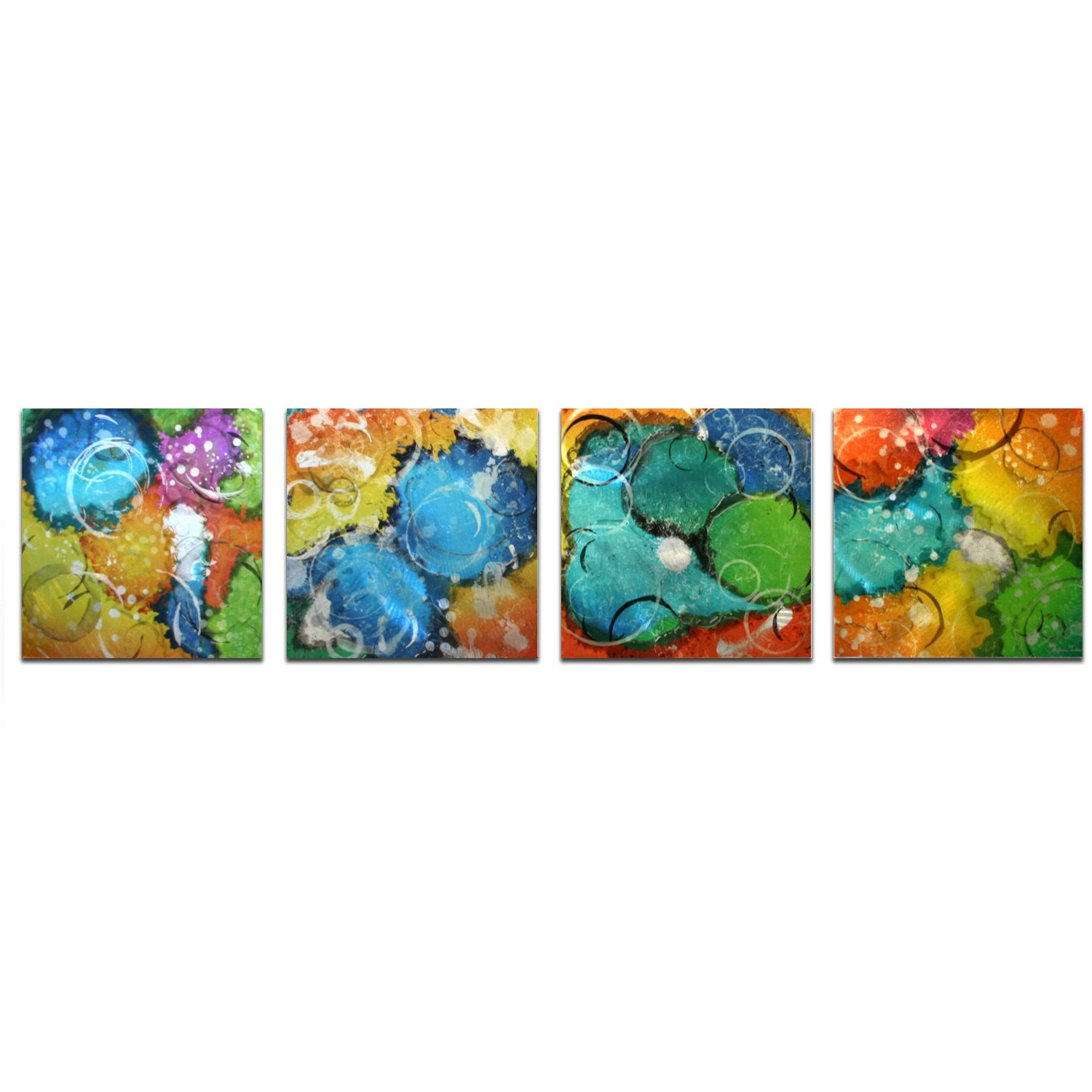 Yellow, Blue, Green, Orange Abstract Art 'Sunny Days' - 52x12 in. - 4-Panels w/ Unique Color Scheme - Blue Wall Decor - Contemporary Artwork 51f76602b1f9647436000158
