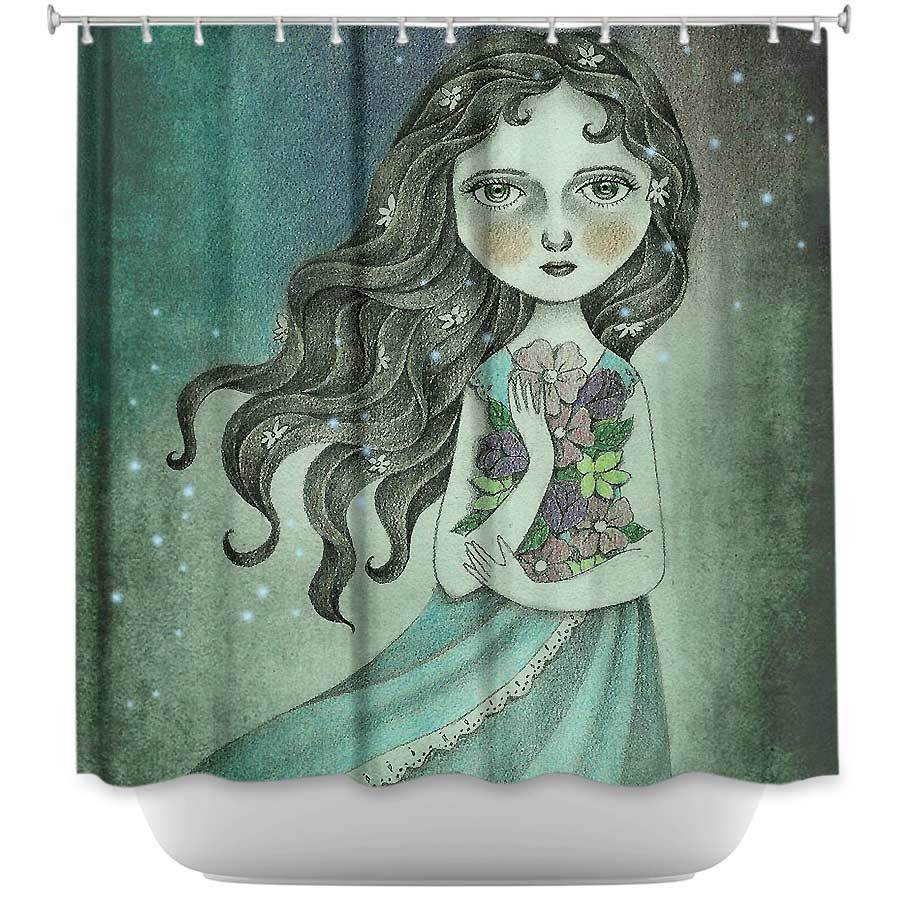 Shower Curtains - DiaNoche Designs - Flower the Midnight Goddess