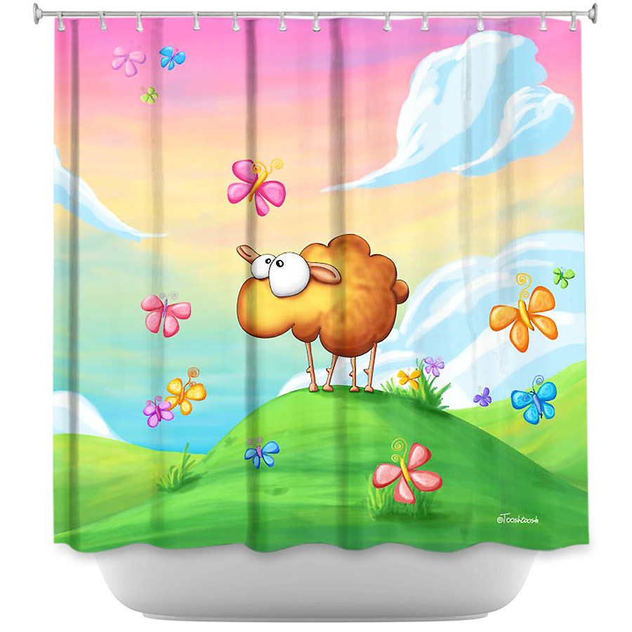Shower Curtains - DiaNoche Designs - Wallo the Sheep Pink