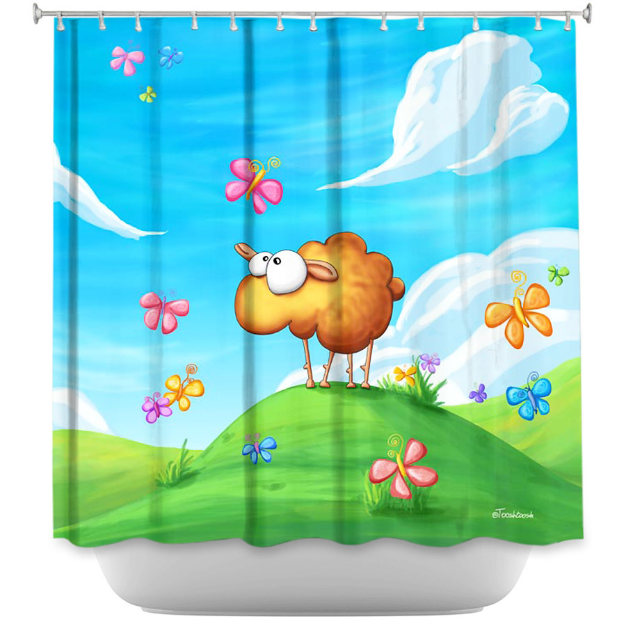 Shower Curtains - DiaNoche Designs - Wallo the Sheep Blue