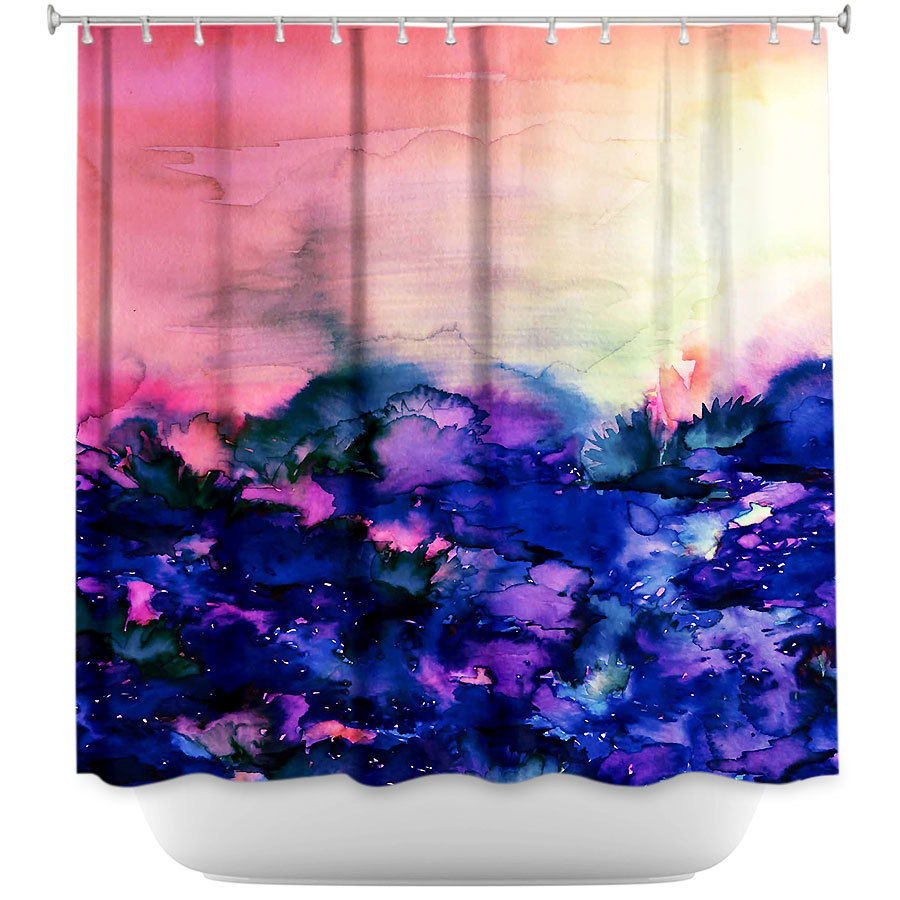 Shower Curtains - DiaNoche Designs - Into the Eye Pink Indigo