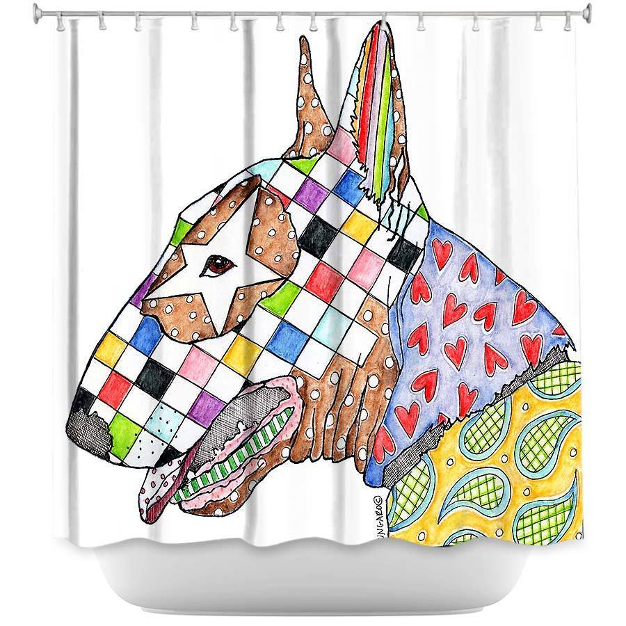 Shower Curtains - DiaNoche Designs - Bull Terrier Dog White