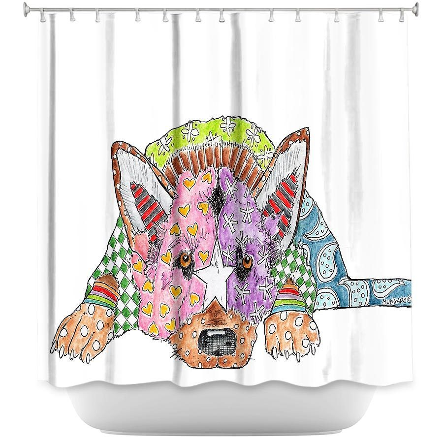 Shower Curtains - DiaNoche Designs - German Shepherd Dog White