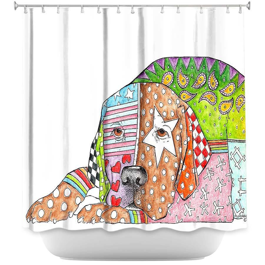 Shower Curtains - DiaNoche Designs - Labrador Retriever Dog White