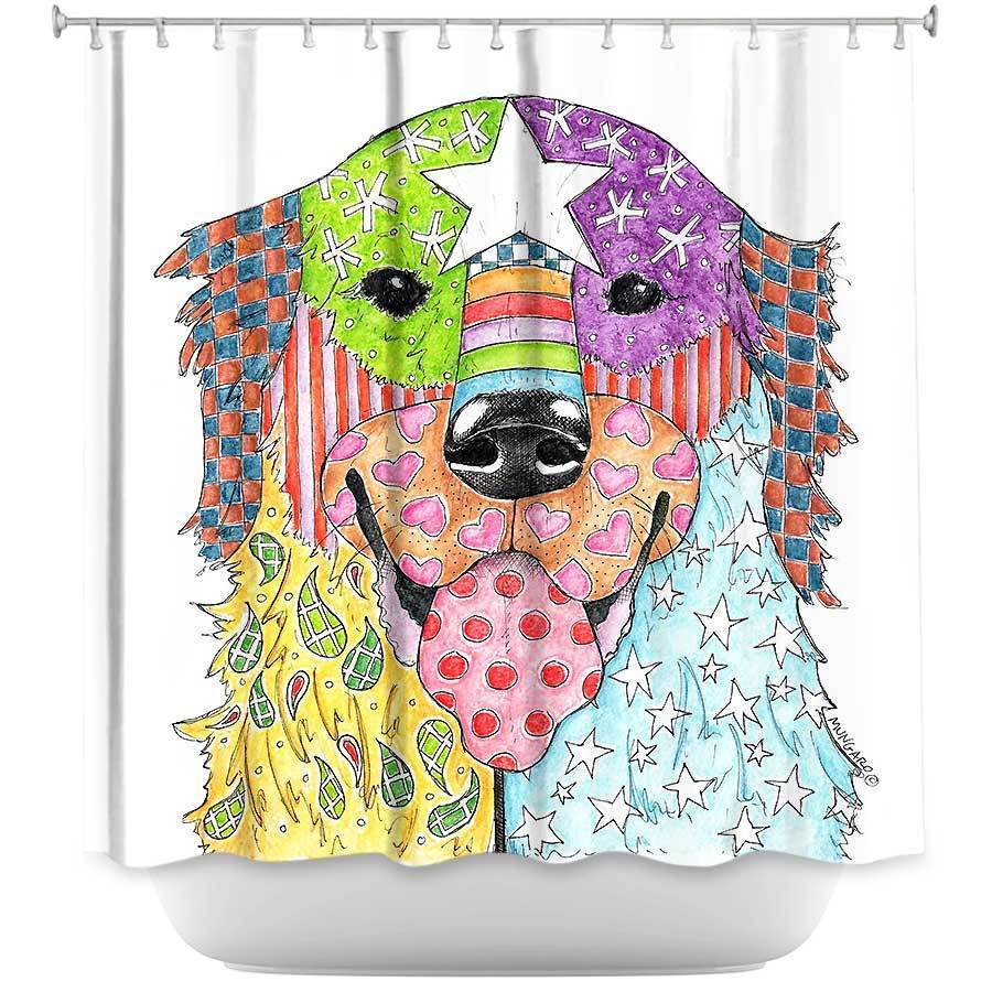 Shower Curtains - DiaNoche Designs - Goldern Retriever Dog White