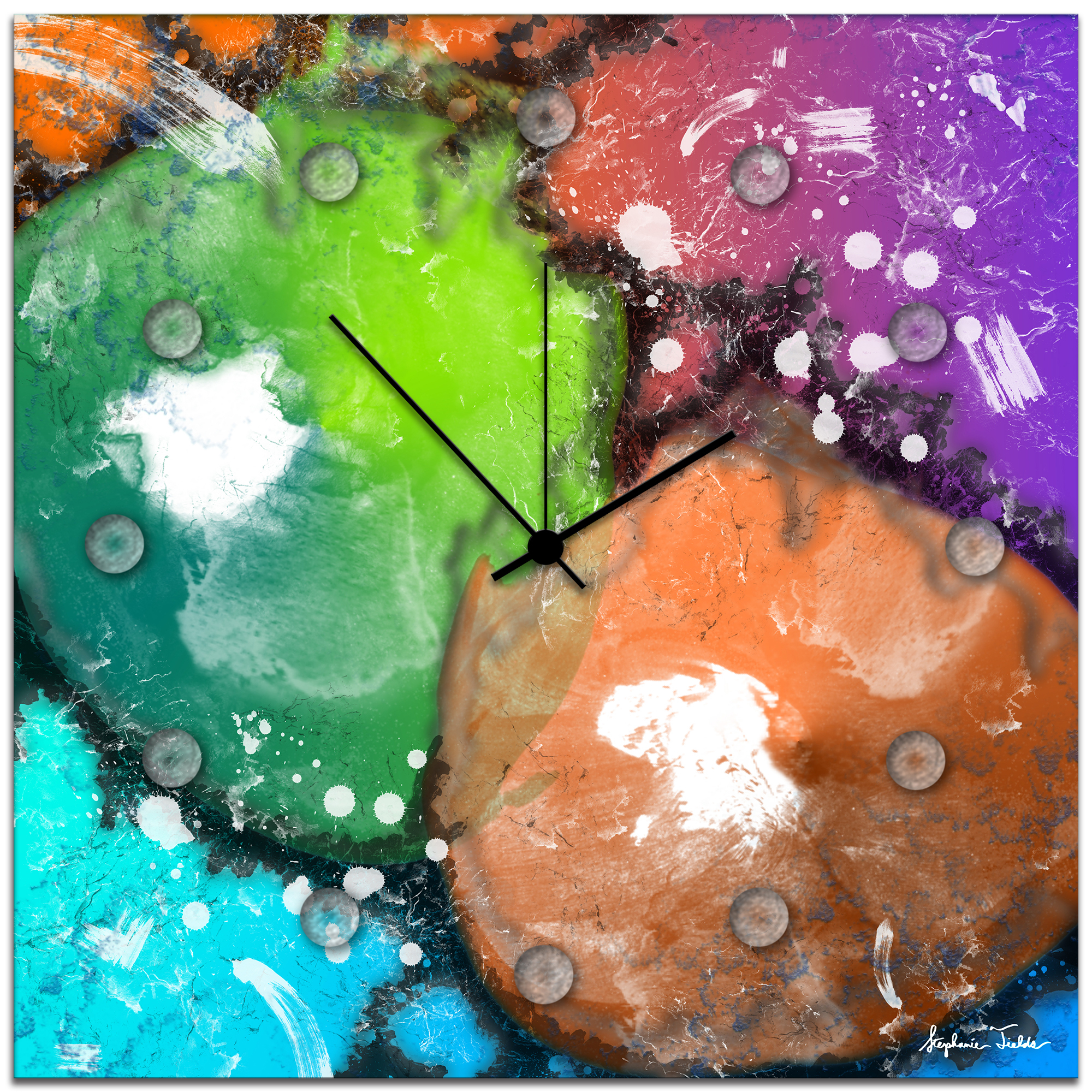 Neon Colors Wall Clock 'Radioactive Clock' 22x22 in. - Colorful Abstract Clocks, Rainbow Wall Decor, Contemporary Multicolor Metal Wall Art