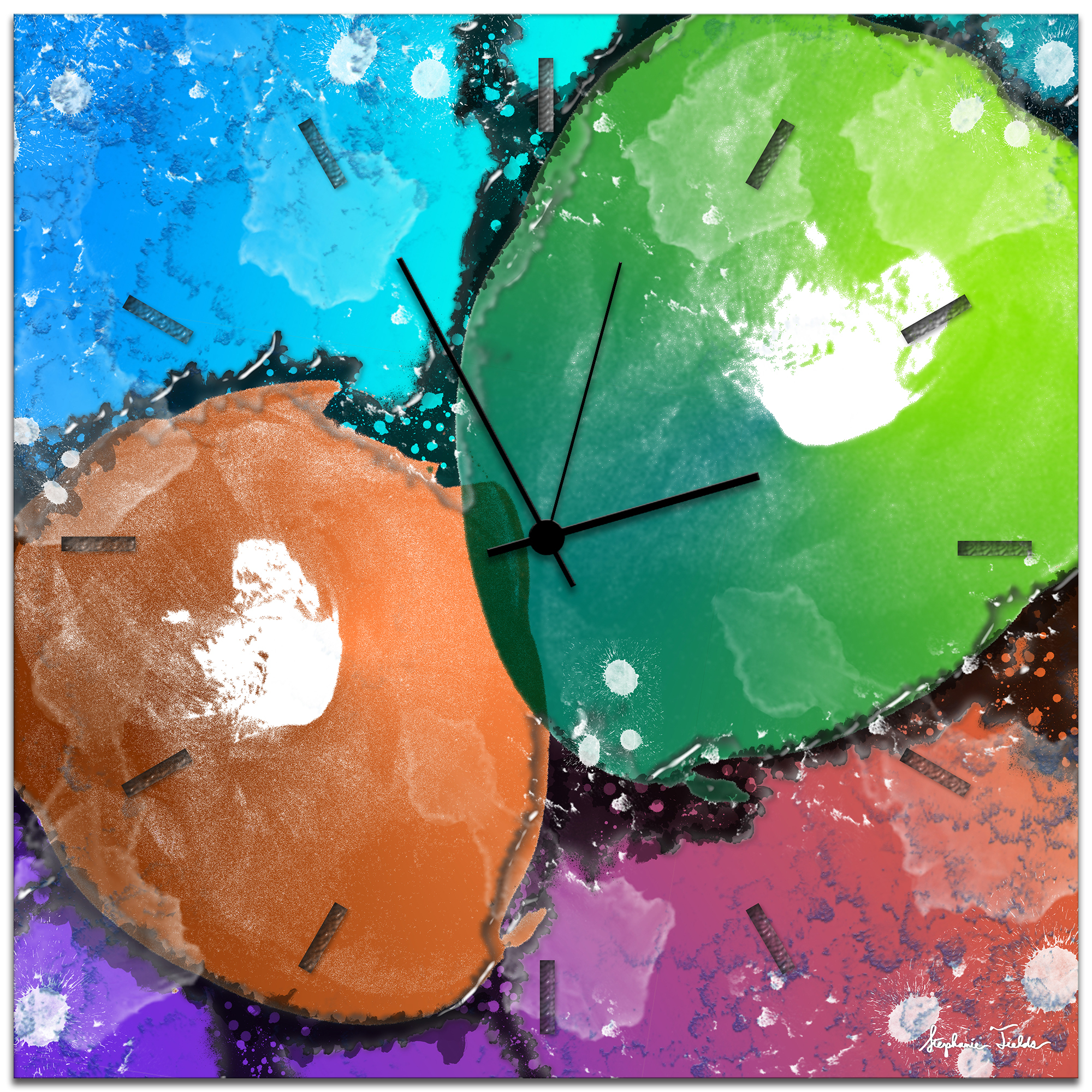 Rainbow Color Clock 'Quantum Clock' - 22x22 in. - Metallic Funky Wall Clock - Neon Colored Clock - Abstract Metal Clock 51f767f41c0ba0ff30000741