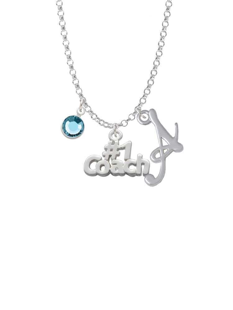 Silver Tone #1 Coach - Script Initial and Crystal Charm Necklace. Silver Tone, hand enameled charms. Charm size is approx. 0.58 x 0.75 x 0.07 inches (HxWxD) including loop. Silver Plated Gelato Script Initial A is approx. 0.67 x 0.67 x 0.09 inches (HxWxD) not including loop. Silver Plated Swarovski Crystal Channels are 6 mm in diameter. 18 Inch Rhodium Plated 2 mm Rolo Chain Necklace. Lobster claw clasp. Select Your Initial and Channel Crystal Color Drop. Please Note: Our products are lead safe, but are not intended for children 14 years and younger.