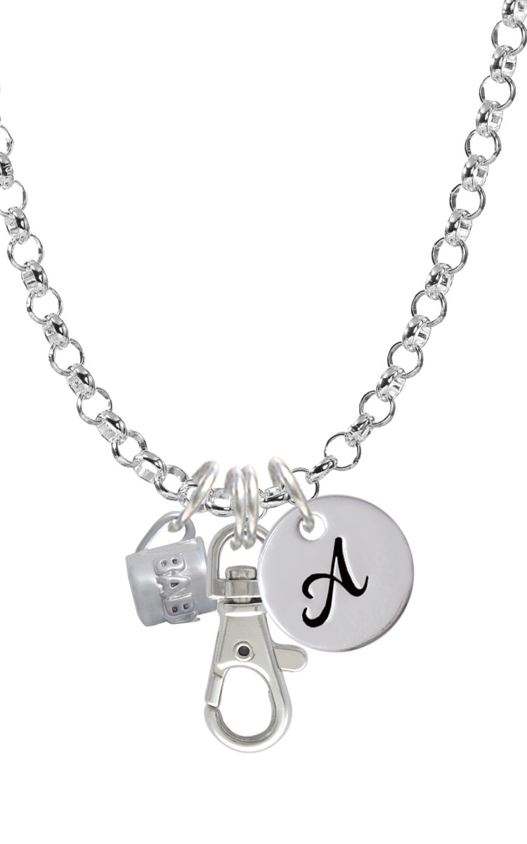 Baby Cup with Crystal Initial Badge Clip Necklace