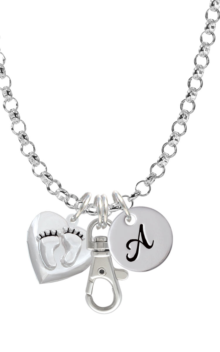 Baby Feet Heart Locket Initial Badge Clip Necklace