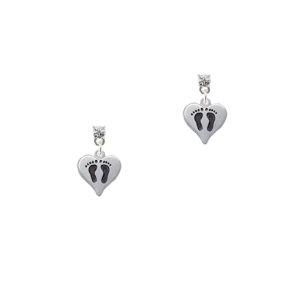 Small Heart with Baby Feet Silver Plated Crystal Post Earrings, Select Your Color