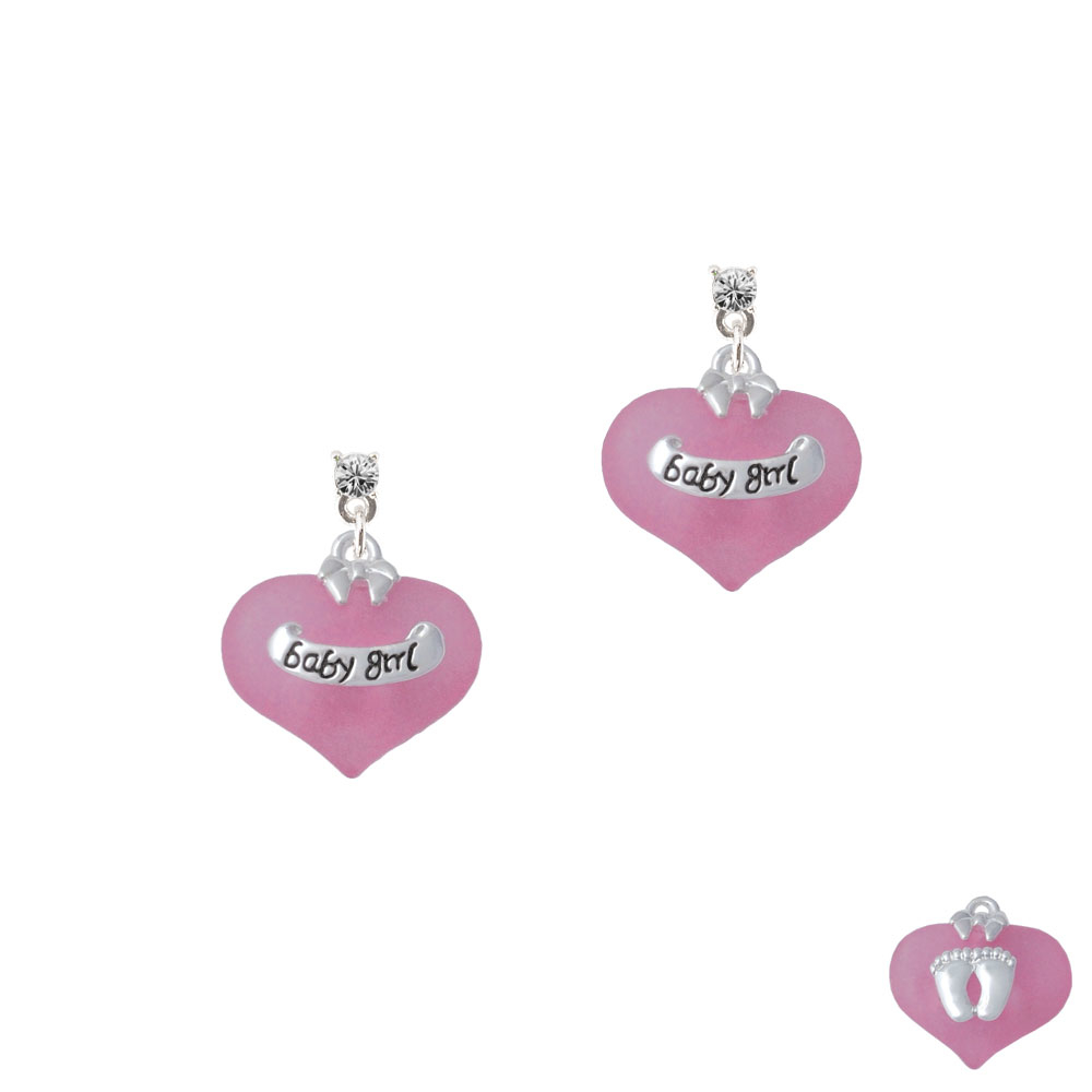 Baby Girl Pink Heart with Baby Feet Silver Plated Crystal Post Earrings, Select Your Color