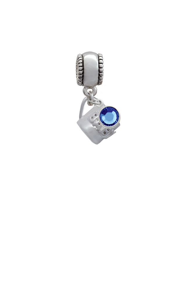 Baby Cup with Crystal Silver Plated Charm Bead with Crystal Drop, Select Your Color
