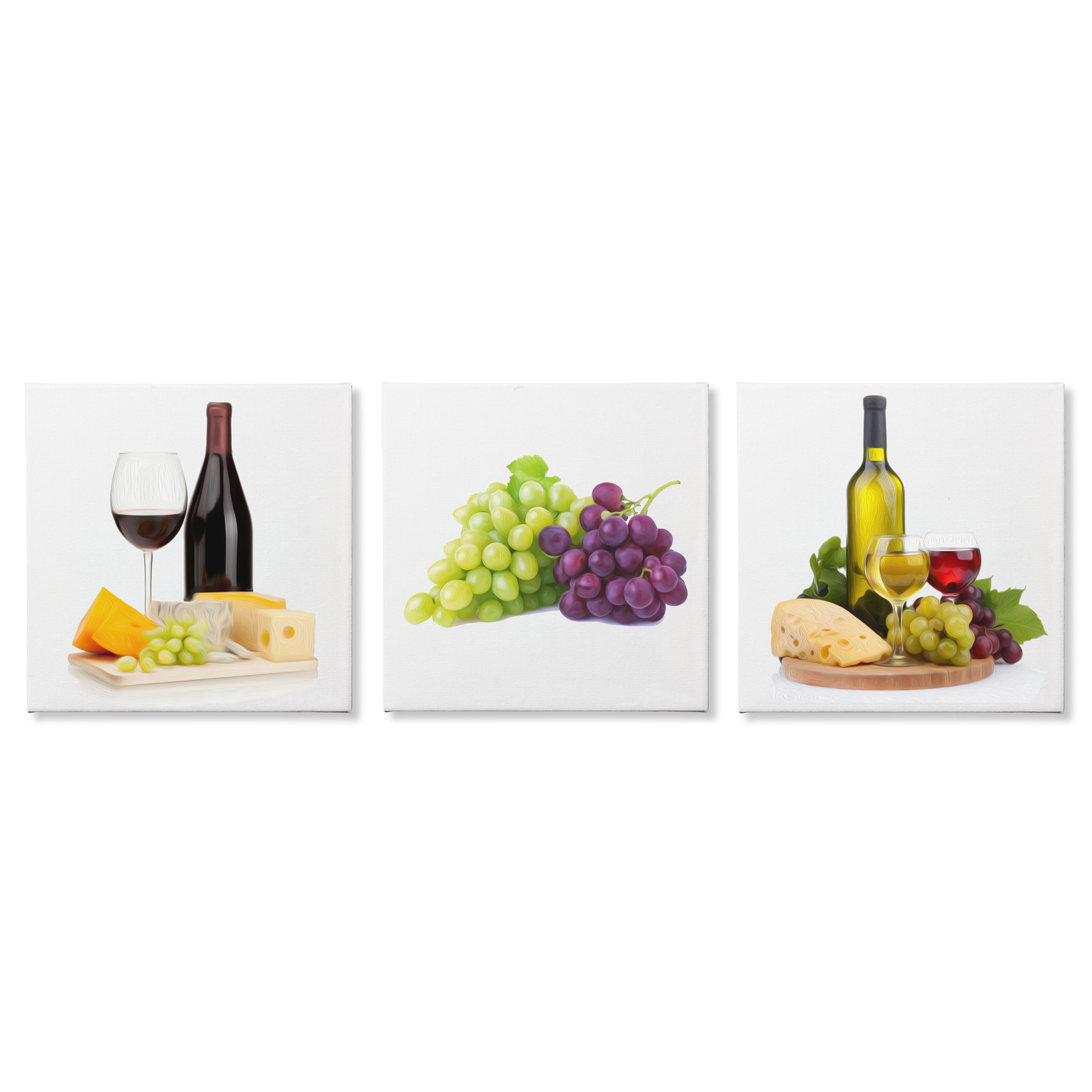 Modern Kitchen Art 'Wine and Cheese' Food Painting - Brushstroke Giclee Print on Canvas - Grapes, Red Wine, White Wine, Wine & Cheese