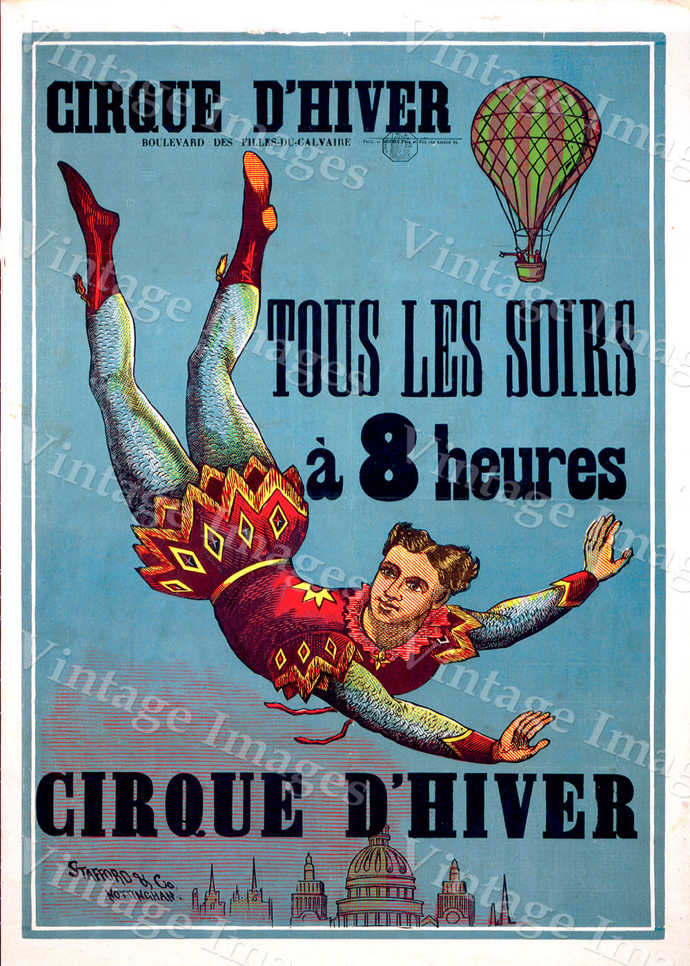 """Vintage French Cirque d' Hiver (Winter Circus) paris france Poster Fine Art Print Giclee home wall decor - 10\"""" x 15\"""" inches [$11.00]"""