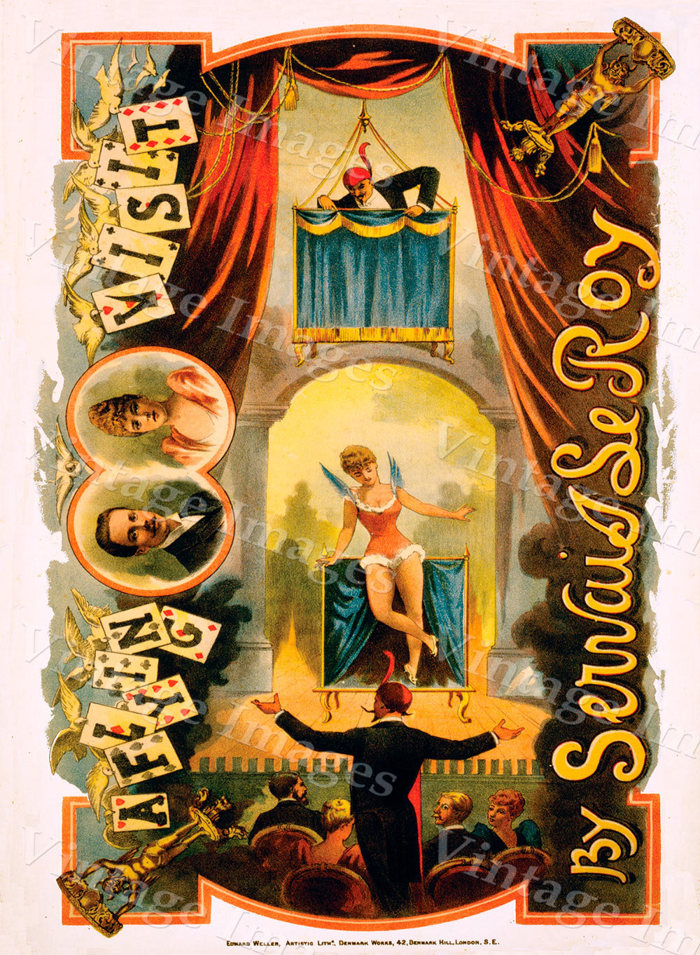 vintage 1890 Servais LeRoy Magic magician Poster 10 X 14 Fine Art Print Giclee home wall decor