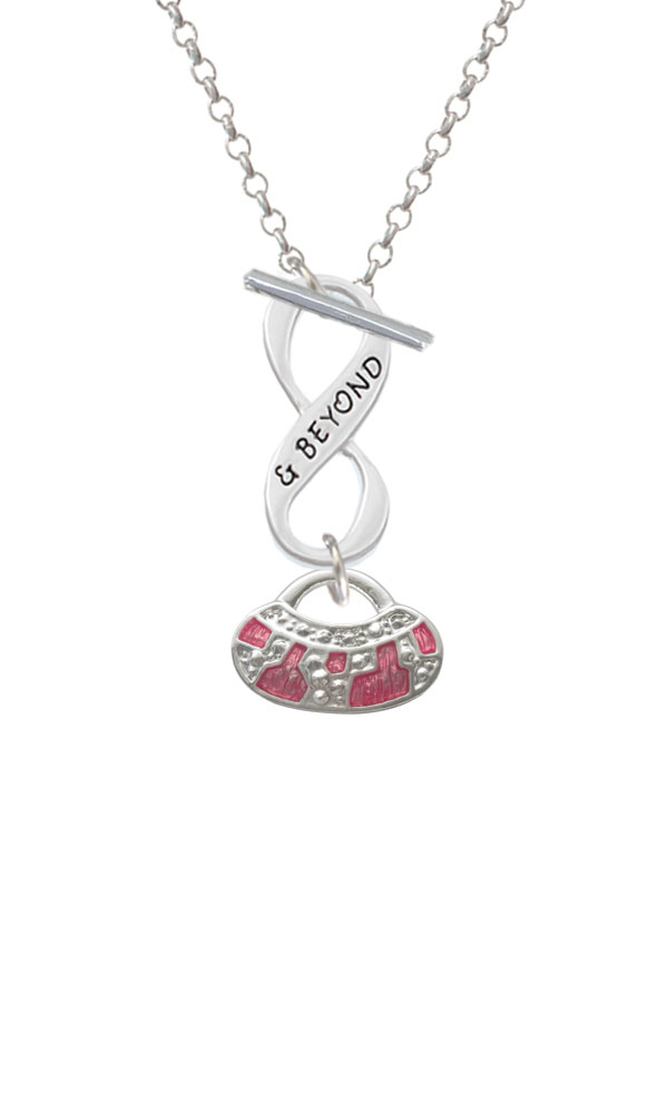 Hot Pink Retro Purse Infinity and Beyond Toggle Necklace (NC-C2449-C6043-F2312) photo