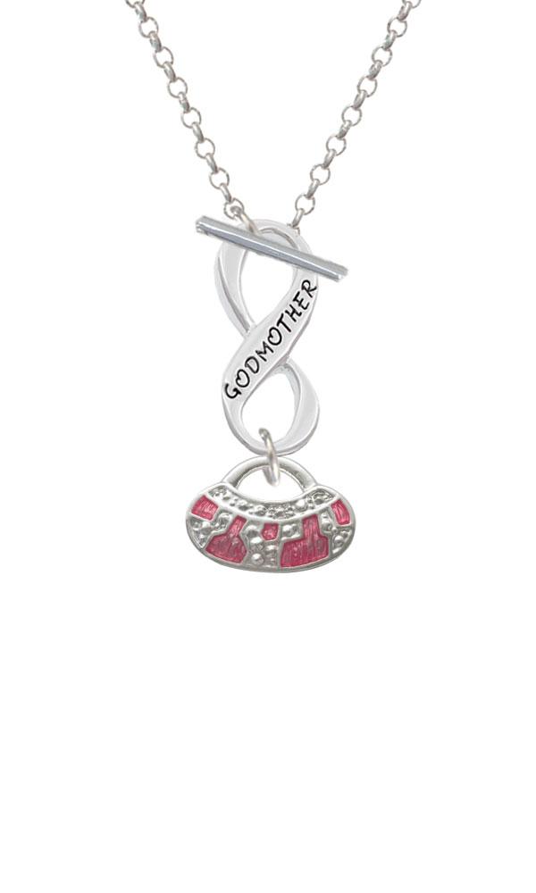 Hot Pink Retro Purse Godmother Infinity Toggle Necklace (NC-C2449-C6046-F2312) photo