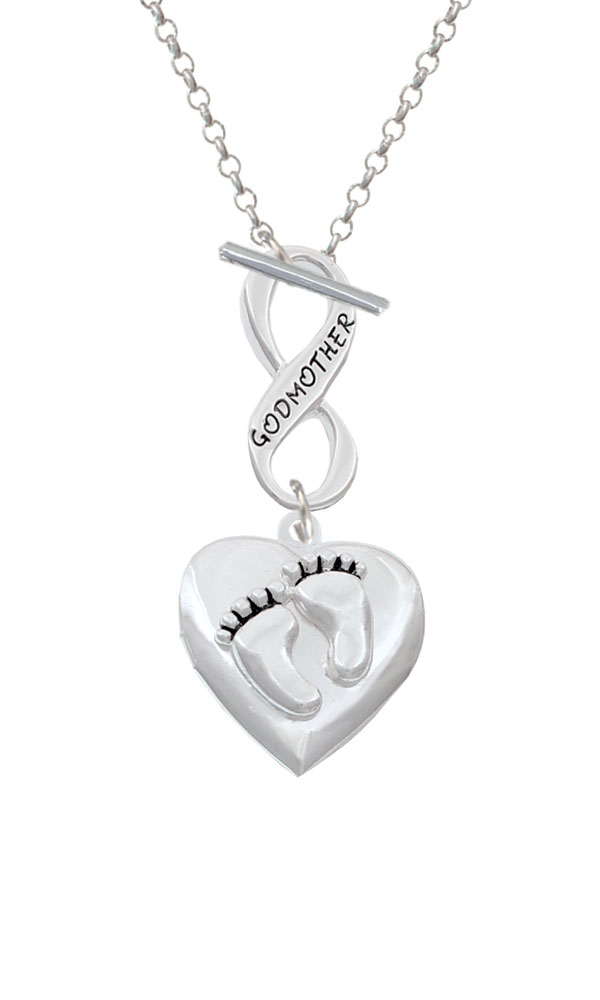 Baby Feet Heart Locket Godmother Infinity Toggle Necklace