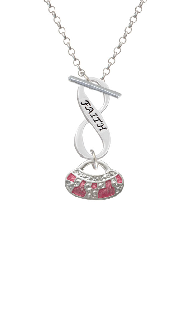 Hot Pink Retro Purse Faith Infinity Toggle Necklace (NC-C2449-C6054-F2312) photo