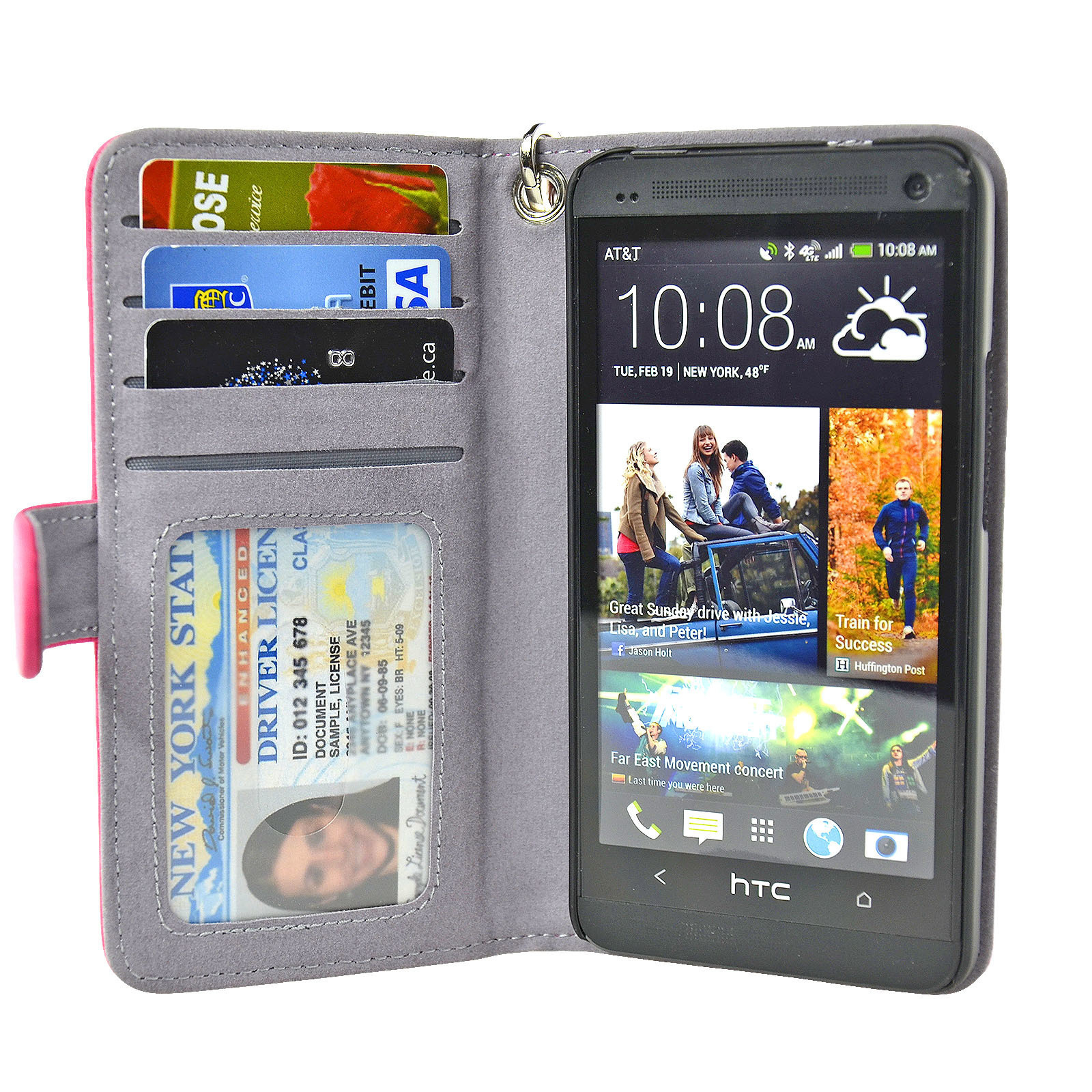 Navor Folio PU Leather Wallet Case for HTC One With Removable Strap (Hot Pink) Htc1O 540f1c9f703d6fba2d000a37