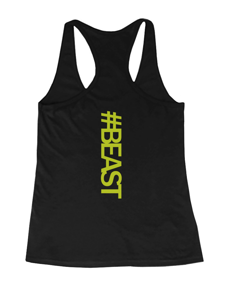Step up your gym style with our Neon #beast Tank Top for women! Youll surely stand out in this stylish racerback gym tank. Its a classic solid black color, with the exception of the word #beast, which is printed in a bold neon yellow font along the middle of the back.