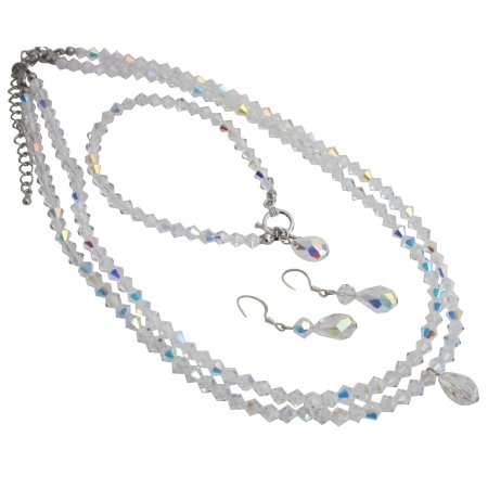 Brd755 Double Stranded AB Crystals Bridal Jewelry Set w/ Top Drilled Teardrop 56428c73a3771c8a708b4738