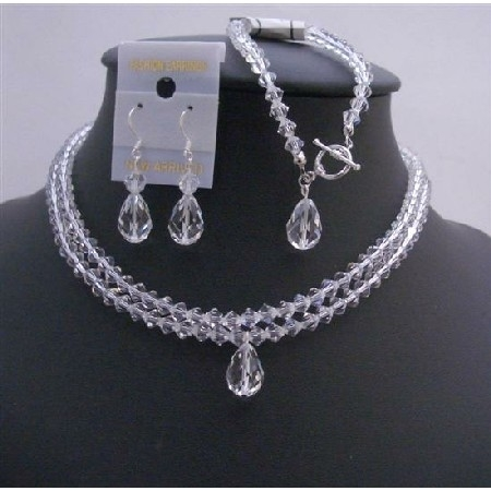 Brd760 Clear Crystals Double Stranded Bridal Jewelry Set Top Drilled Teardrop 56428c73a3771c8c708b4733