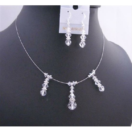 Brd676 Bridesmaid Handcrafted Jewelry Swarovski Clear Crystals Necklace Set